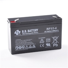 6V 12Ah Akku, AGM Bleiakku, B.B. Battery BP12-6, VdS, 151x50x94 mm (lxbxh), Pol T2 Faston 250 (6,3 mm)