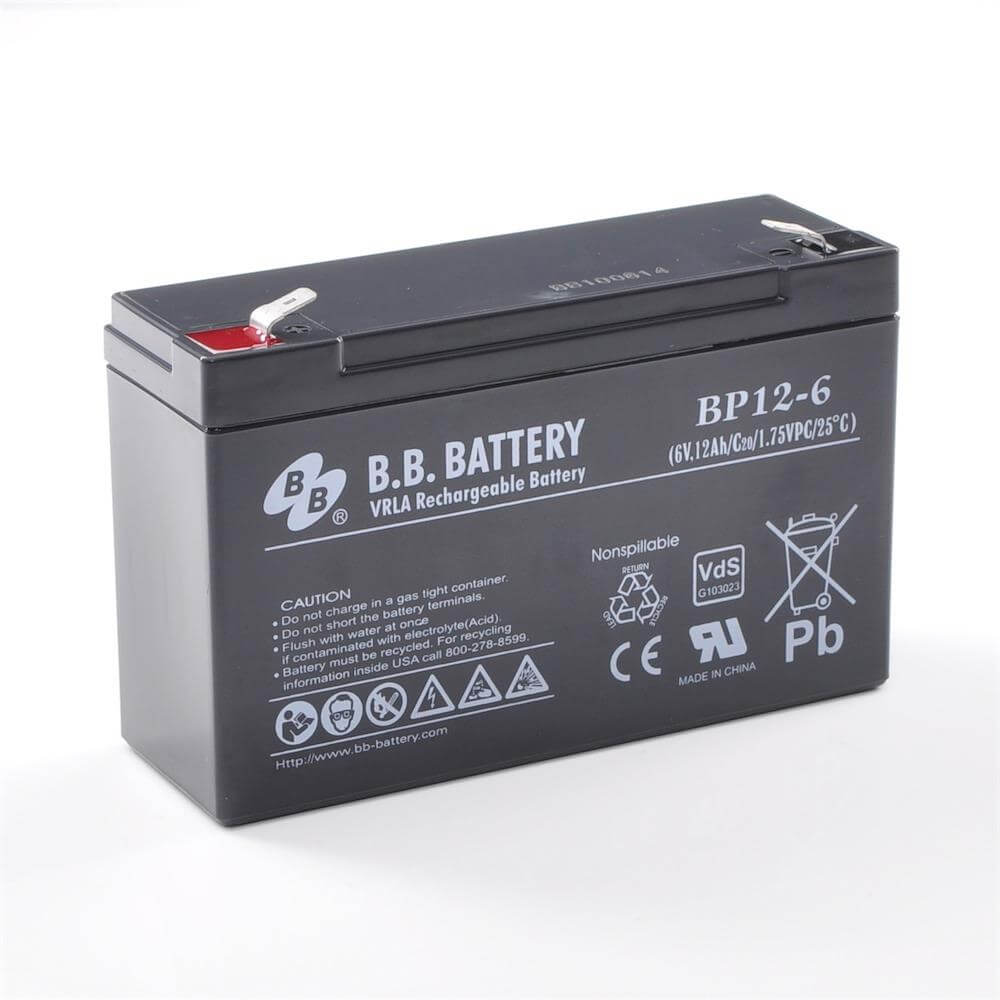 6V 12Ah Akku, AGM Bleiakku, B.B. Battery BP12-6, VdS ...