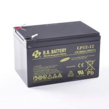 12V 12Ah Akku, AGM Bleiakku, B.B. Battery EP12-12, 151x98x94 (lxbxh), Pol T2 Faston 250 (6,3 mm)