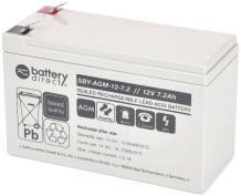 12V 7.2Ah Akku, Standby, AGM Bleiakku, battery-direct, 151x65x94 (lxbxh), Pol T2 Faston 250 (6,3mm)
